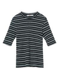 블랙 배색 스트라이프 라운드 티셔츠