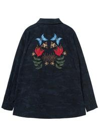 카모플라주 백 자수 포인트 재킷