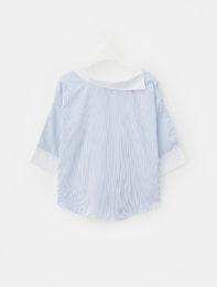 블루 핀 스트라이프 스카프넥 셔츠