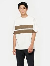 화이트 스트라이프 반소매 스웨트 셔츠
