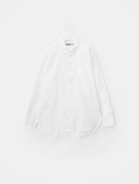 화이트 코튼 레귤러핏 셔츠