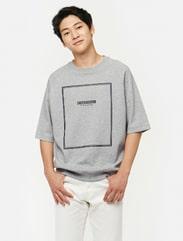 그레이 래글런 그래픽 스웨트 셔츠