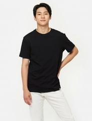 블랙 베이직 코튼 티셔츠