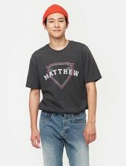그레이 레트로 그래픽 티셔츠
