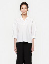 화이트 7부 소매 헨리넥 셔츠
