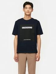 네이비 루즈핏 그래픽 스웨트 셔츠