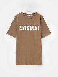 베이지 레터링 프린트 디테일 티셔츠