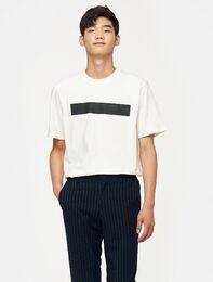 화이트 와이드 라인 프린트 티셔츠