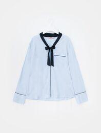 스카이 블루 백 디테일 파자마 셔츠