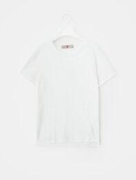 화이트 베이직 라운드넥 티셔츠