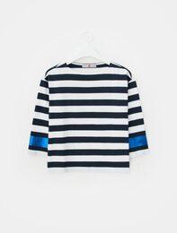 네이비 스트라이프 글리터 소매 티셔츠