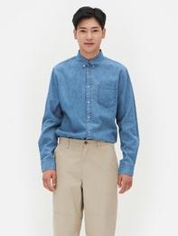 블루 인디고 데님 셔츠