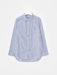 블루 스트라이프 와이드 커프스 셔츠