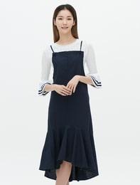 네이비 에이프런 슬립 드레스