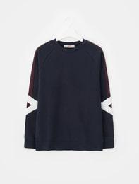 네이비 네오프렌 컬러 블록 스웨트 셔츠