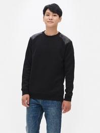 블랙 네오프렌 가죽 배색 스웨트 셔츠