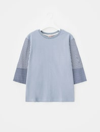 스카이 블루 스트라이프 배색 티셔츠