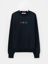 [에잇몬]네이비 로고 자수 스웨트 셔츠