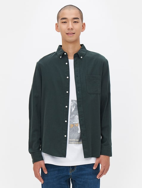 8seconds lab8 flannel solid button down shirt green