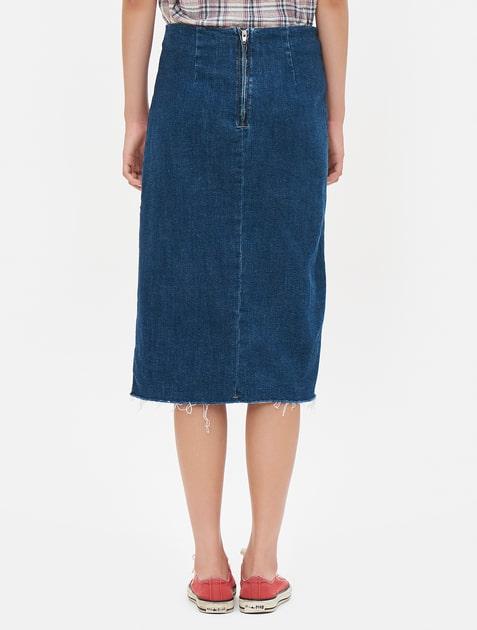 8seconds front slit denim skirt blue 11street malaysia