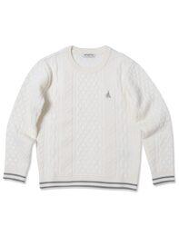 아이보리 케이블 라운드넥 스웨터