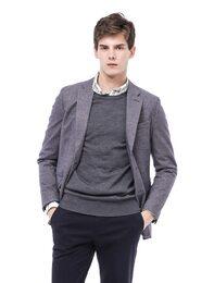 [SLIM] 그레이 샴브레이 도비 코튼 재킷