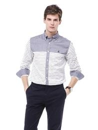 [SLIM] 네이비 마린스트라이프 셔츠