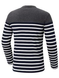네이비 남성 선염셔츠 스트라이프 라운드 티셔츠
