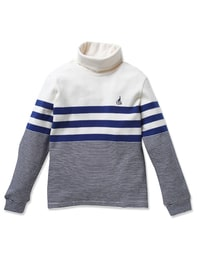 블루 스트라이프 터틀넥 티셔츠
