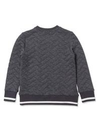 다크 그레이 퀼팅 맨투맨 티셔츠