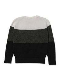 아이보리 컬러 블록 배색 라운드넥 울 스웨터