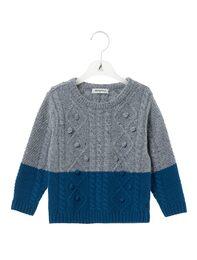 블루 케이블 머플러 스웨터