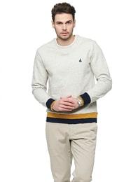 [SLIM]아이보리 티핑 포인트 맨투맨 티셔츠