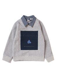 [Essential] 그레이 변형 프린팅 카라 티셔츠