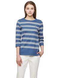 블루 7부 변형 스트라이프 티셔츠