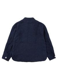 네이비 리넨 홑겹 재킷
