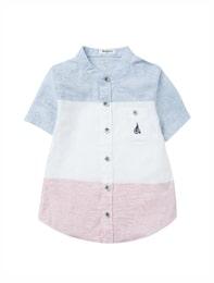 [Essential] 블루 컬러 블록 리넨 반팔 셔츠