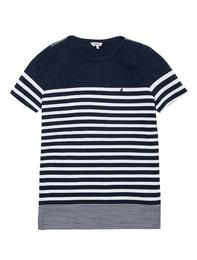 네이비 기본 싱글 스트라이프 반팔 티셔츠
