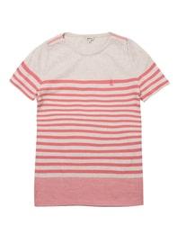 핑크 기본 싱글 스트라이프 반팔 티셔츠