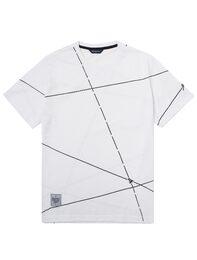 화이트 대각선 프린트 반팔 라운드넥 티셔츠