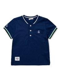 블루 배색 칼라 반팔 피케 티셔츠