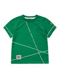 그린 대각선 프린트 반팔 라운드넥 티셔츠