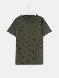 카키 그래픽 프린트 반팔 티셔츠