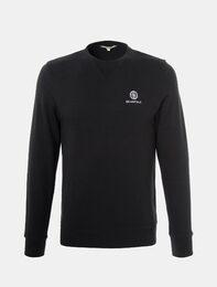 블랙 공용 베이직 긴팔 스웨트 티셔츠
