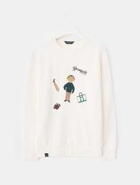 [남/여공용][BP x 카즈오 호즈미] 아이보리 그래픽 기모 스웨트 티셔츠