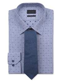 [빨질레리] SLIM 네이비 스트라이프 도트 자카드 면 드레스셔츠(MA5964025R)