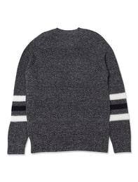 라인 장식 다크 그레이 라운드넥 스웨터(MK5X510014)
