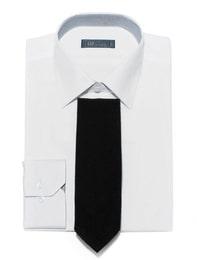 [삼성패션 일모] 밴드 배색 슬림핏 화이트 솔리드 면 혼방 셔츠