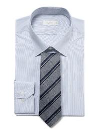 [삼성패션 일모][슬림핏 긴팔셔츠] 네이비 스트라이프 면스판 드레스 셔츠