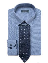 [삼성패션 일모][슬림핏 긴팔셔츠] 네이비 체크 면스판 드레스 셔츠